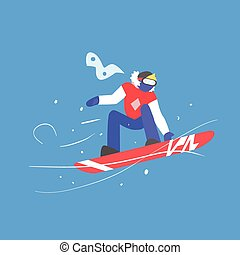 Man Snowboarding. Winter Vector Illustration