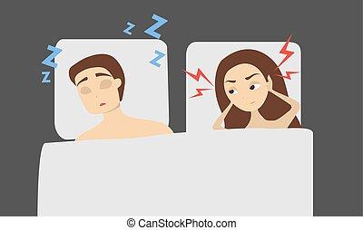 man., snurken, slapende