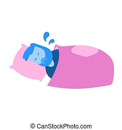 Man soaked in sweat lying in his bed. Cartoon design icon. Flat vector illustration. Isolated on white background.