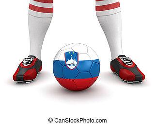 Man, soccer ball with Slovene flag - Man and soccer ball ...