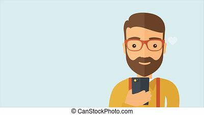 Man social media browsing using the smartphone.
