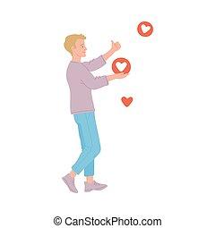 Man social media influencer getting likes flat vector illustration isolated.