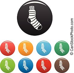 Man sock icons set color vector