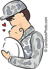 Man Soldier Father Carry Baby Illustration