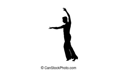 Man solo dancing elements of ballroom dancing. Black...