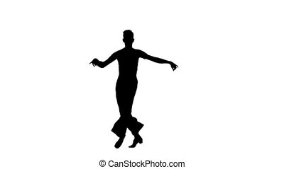 Man solo dancing elements of ballroom dancing. Silhouette, slow motion