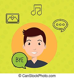 man speak bubble design vector illustration eps 10