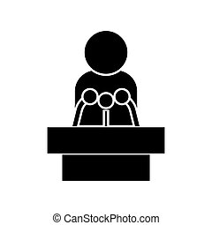 Man speaking from the rostrum black color icon .