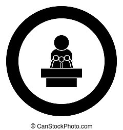 Man speaking from the rostrum icon black color in circle