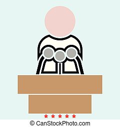 Man speaking from the rostrum icon Illustration color fill style