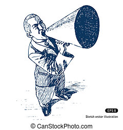 Man speaking in megaphone. Hand drawn vector isolated on...