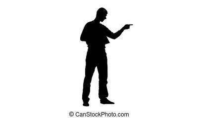 Man speaks in a shout on the set. Silhouette. White background