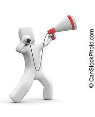 Man speaks in megaphone. 3d illustration