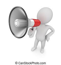 Man speaks in megaphone