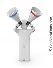 Man speaks in megaphones