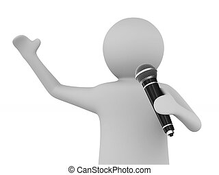 man speaks with microphone on white background. Isolated 3D illustration