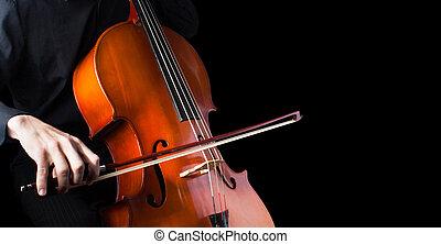 man, spelend, cello