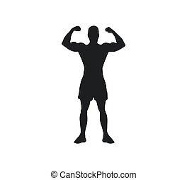 Man sport silhouette. Vector illustration. Flat. athletic