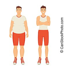 Man Sportive and Fat Person Vector Illustration - Man...