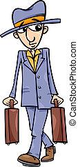 man, spotprent, illustratie, koffer