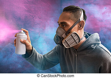 Man spraying paint