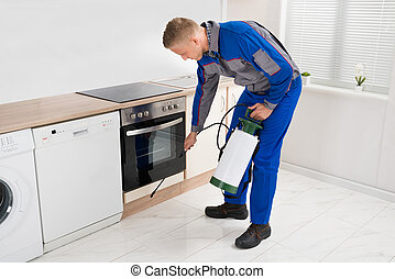 Man Spraying Pesticide In Kitchen Room - Young Man In...