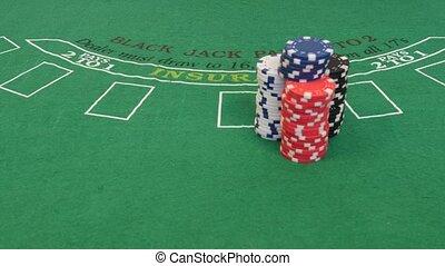 Man Spread Out Poker Chips in 4k