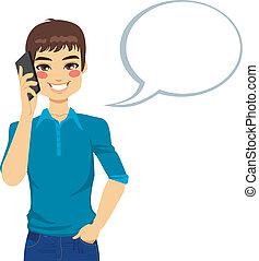 man sprekend, gebruik, telefoon