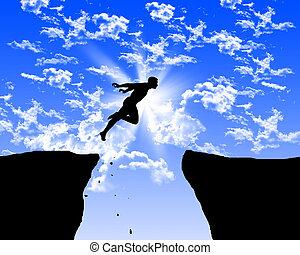 man springend, op de rotsen