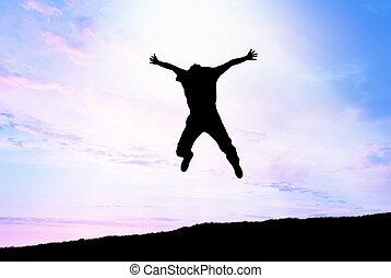 man, sprong, om te, hemel