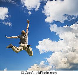man, sprong, om te, sky.