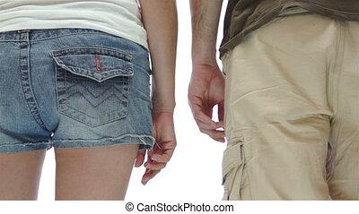 Man Squeezes Woman Bum Slap
