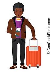 man staand, met, koffer, en, vasthouden, ticket.