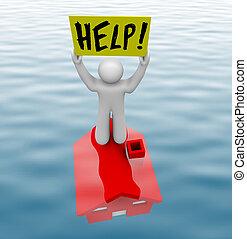 man staand, op, onderwater, thuis