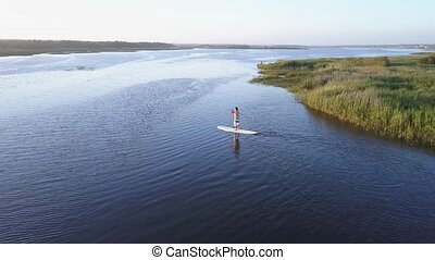 Aerial view of man stand up paddleboarding on lake. Young man doing watersport on lake. Male tourist in swimwear during summer vacation.