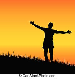 man stand with open arms at sunset vector illustration