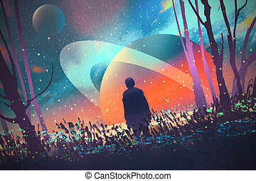 man standing alone in forest with fictional planets background, illustration