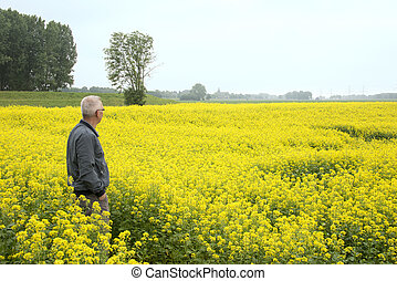 man standing and wathing nature - man stading in the middel...