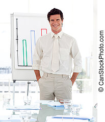 Man standing before his team at a presentation