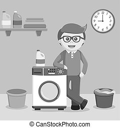 man standing beside wash machine black and white color style