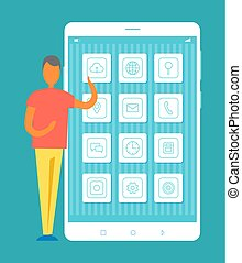 Man Standing by Mobile Phone Vector Illustration