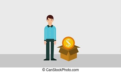 man standing character with package coin money animation hd