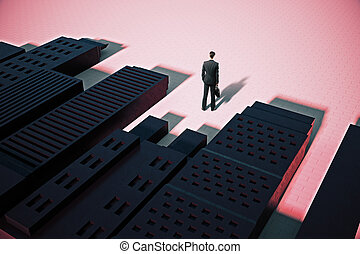 Man standing in abstract city with shadows