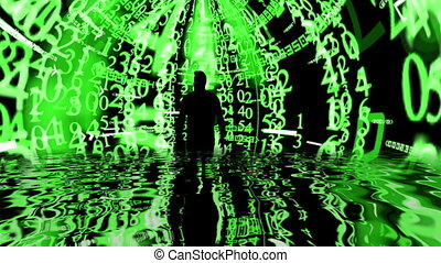 Man standing in front od matrix background