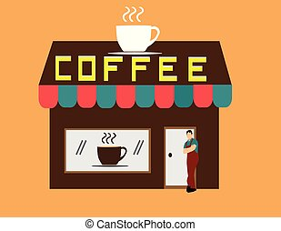 Man standing in front of a brown coffee shop on brown background