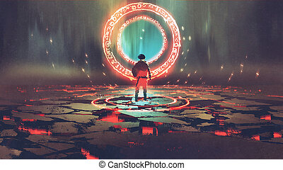 man standing in front of magic circle with red light,...