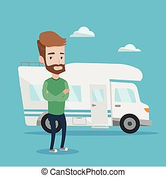 Man standing in front of motor home. - Confident hipster man...