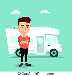 Man standing in front of motor home. - Confident man...