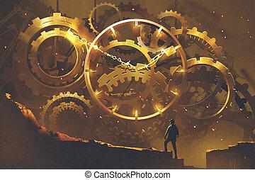 man standing in front of the big golden clockwork, illustration painting