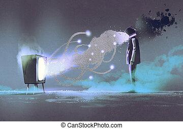 man standing in front of unusual TV - man standing in front ...